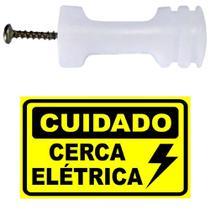 60 Isolador para Cerca Elétrica com Parafuso + 6 Placa Advertência Cuidado Cerca Eletrica - CONFISEG