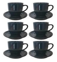 6un de Jogo Xicara Café Chá Porcelana Preta 170ml Com Pires - Hr Horacilio