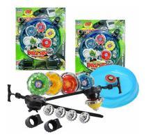 8 Beyblade Metal Led + 4 Lançador + 2 Arena - Lianfa Toys