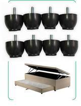 8 pes Cama Box Conjugada Solteiro com Baú e Cama Auxiliar - Rodrim