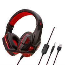 830 Wired Jogo Headphones LED Computer Gaming fone Luz Headset Cancelamento de Ruído Headband para Xbox One Play Station 4 com Mic Red - Bt Wireless