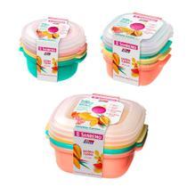 9 potes coloridos para mantimento vasilha com tampa 480ml 530ml 1300ml freezer microondas - Sanremo