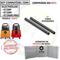 9 Saco + 2 Tubos Extensores para Aspirador de Pó Electrolux GT2000 / GT20N / GT20P Modelo Novo G2NTB -