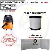 9 Saco + Filtro Permanente para Aspirador de Pó Electrolux GT2000 Antigo G2AFT -