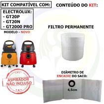 9 Saco + Filtro Permanente para Aspirador de Pó Electrolux GT2000 / GT20N / GT20P Modelo Novo G2NFT -