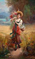 A Colheita de Flores (1921) - Hans Zatzka - Tela 60x100 Para Quadro - Santhatela