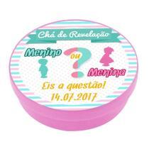 A1-Lembrancinha Latinha Chá de Revelação Rosa - Vem festejar