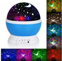 Abaju Projeta Parede Teto Projetor De Estrelas Giratório Luminaria Azul - Star
