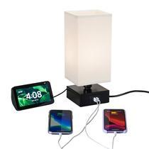 Abajur de mesa preto c/ carregador USB duplo ultra-rápido 2.4A + tomada - Smart Glow By Ocanova