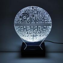 Abajur e Luminária Estrela da Morte de Acrílico com LED Branco - Universo Acrílico