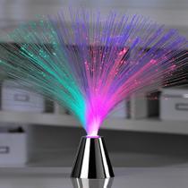 Abajur Fibra Ótica Prateado Led Luminaria Decoração Enfeite - Tascoinport