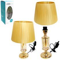 Abajur luminaria cupula e base de metal vidro dourado 49cm - Casa Onze