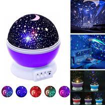 Abajur Projetor De Estrelas Lua Luminária lilas decoração Quarto - Star