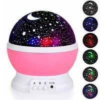 Abajur Projetor Estrelas Lua Teto Parede Luminária rosa Festa Quarto - Star