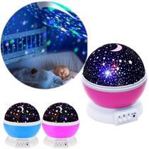 Abajur Rotativa Criança Neon Quarto Projetor Luz Céu Estrela Luminária 360º - Star Master