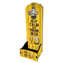 Abridor de Garrafa de Parede Keep Calm and Drink Beer - Davys Creative