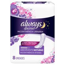 Absorvente Always Discreet Noturno Incontinência Urinária sem Aba 8 Unidades -