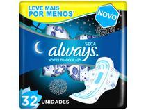 Absorvente Always Noites Tranquilas Seca - com abas 32 Unidades