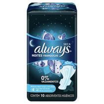 Absorvente Always Noites Tranquilas Seca Com Abas C/ 10 unidades 40cm -
