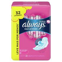Absorvente Always Proteção Total Suave Com Abas - 32 unidades -