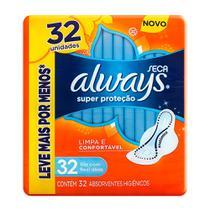 Absorvente Always Super Proteção Cobertura Seca com Abas 32 Unidades -