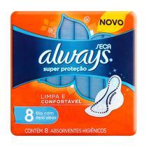 Absorvente Always Super Proteção Cobertura Seca com Abas 8 Unidades -