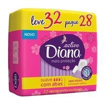 Absorvente Diana Active Mais Proteção Suave com Abas Leve 32 Pague 28 Unidades -