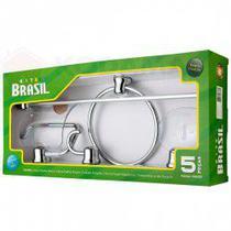 Acessório Banheiro 5 Peças Brasil Cromado -