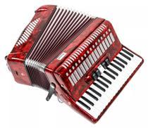 Acordeon com 34 teclas e 60 baixos vermelho perolado - Strauss