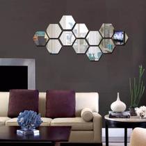 Acrílico Espelhado Para decoração Hexágonos 12 Peças - Decoramix
