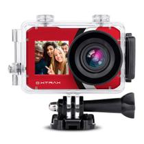 Action Camera e Filmadora + Selfie 4K 16MP Vermelha Xtrax Wifi -