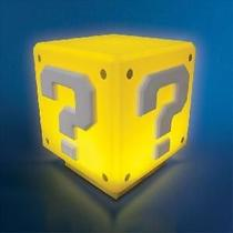 Action figure luminaria nintendo super mario bros - mini question block com som - Paladone