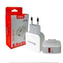Adaptador de Energia USB Turbo para Celular Carregador Carga Rápida Le-511 - Branco - Exbom