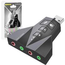Adaptador Driver De Som Pc Usb Duplo Fone E Microfone Indicador Led - Global