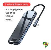 Adaptador Hub C/ Carregador - 6 Em 1 Rj45 Hdmi Usb Macbook - Adaptadores de USB e auxiliar