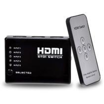 Adaptador Hub Switch Hdmi 5x1 Com Controle Remoto 5 Portas Hdmi Splitter Full Hd Para Video Game, Tv - Connectcell