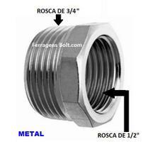 Adaptador Redução metal 3/4 para 1/2 polegada - GARDEN