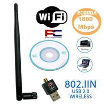 Adaptador Wireless USB 2.0 WiFi 1800Mbps p/ PC e Notebook Ecooda -