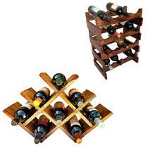 Adega Art Madeira para 16 Garrafas + Adega tipo Colmeia para 8 Vinhos - Arte em madeira