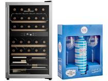 Adega Climatizada Brastemp 33 Garrafas - BZB33 BE + Vinho Rosé Meio Seco Piscine com Taça