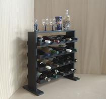 Adega Decorativa Piso Prateleira para Vinhos e Bebidas 20 garrafas - Preto Laca - Formalivre