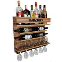 Adega e Barzinho de Parede para sala bebidas com porta taças vinho - Barzinho - 60 x 51 - cor Nogueira - Co2Beer