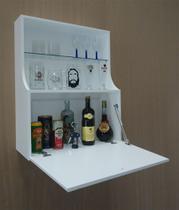 Adega Mini Bar Armário Suspenso para Bebidas Copos e Taças Porta Basculante - Branco Laca - Formalivre