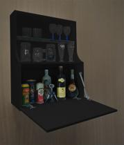 Adega Mini Bar Armário Suspenso para Bebidas Copos e Taças Porta Basculante - Preto Laca - Formalivre