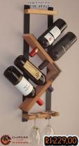 Adega Parede Rústico para Vinhos e Taças Preto e verniz - Chimera Concepts