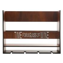 Adega Portatil De Madeira Para Parede para Vinho - Time For A Glass Of Wine - Woodart