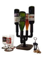 Adega Suporte Mesa Bar 4 Garrafas Porta Vinhos e Bebidas Estilo Industrial Preto Laca - Formalivre