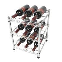 Adega Suporte Porta 9 Garrafas Vinho Chão Bancada Cromada - Premium