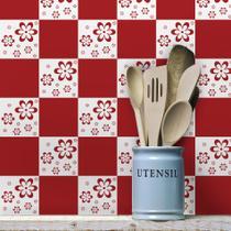 Adesivo de Azulejo Floral Vermelho 20x20 - Para Cozinha 24un - Quartinhos
