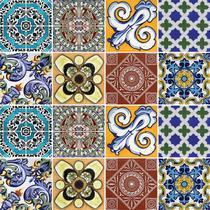 Adesivo de Azulejo - Ladrilho Hidráulico - 10cm x 10cm - 16un - 313Azpe - Allodi
